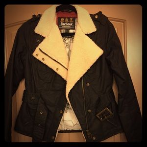 Barbour motorcycle jacket with shearling